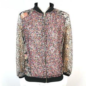 Zara floral lace bomber jacket